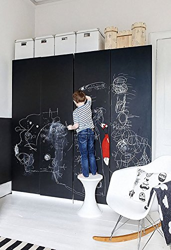 Blackboard Sticker Chalkboard Self Adhesive Wall Sticker Contact Paper Decorative Chalk Board Covering With 5 Free Chalks For School Office   Home 17 7 X 78 7 Inches Black 45 X 200Cm