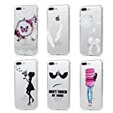 Image of iPhone 7 Plus Case (5.5 inch) - 6 Pcs Shock-absorption Soft TPU Rubber Skin Bumper Case Transparent Crystal Clear Cute Colorful Print Patterns Ultra Thin Slim Protective Cover by Badalink - Group 6