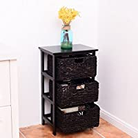 Wooden End Accent Storage Table Home Office Furniture Decor W/3 Storage Baskets