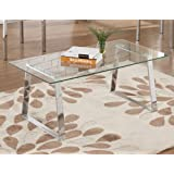 King's Brand T69197-C Modern Design Chrome Finish with Glass Top Cocktail Coffee Table