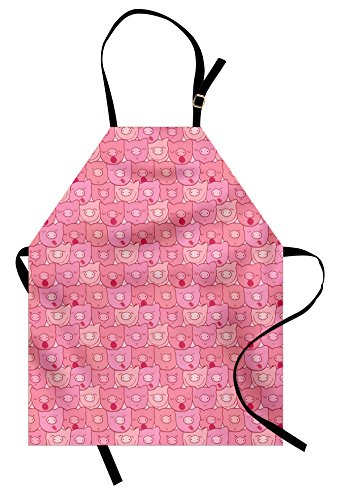 Pig Apron by Lunarable, Funny Snouts of Pigs With Different Emotions and Happy Animal Faces Tile Pattern for Kids, Unisex Kitchen Bib Apron with Adjustable Neck for Cooking Baking Gardening, Pink