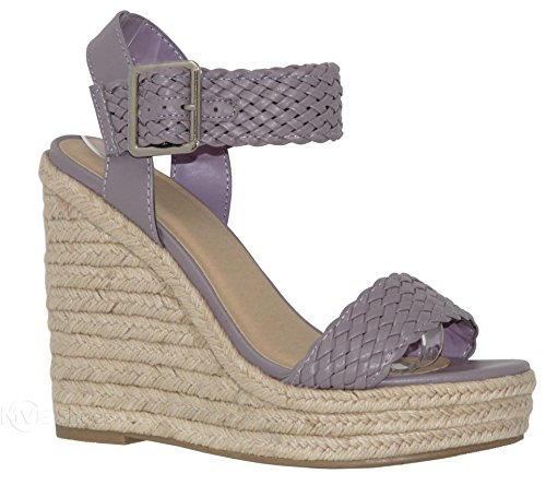MVE Shoes Women's Open Toe Ankle Braid Strap Sandals - Cute Espadrille High Platform - Summer Wedges-Sandals, Lilac pu Size 10 - Womens Braid