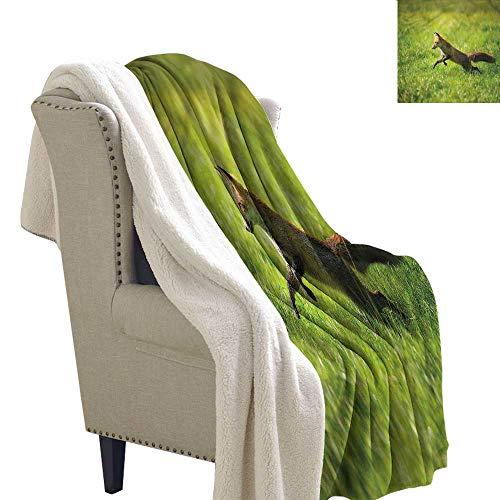 Brandosn Fox Throw Blanket Jumping Animal Fresh Grass Print Artwork 60x47 Inch