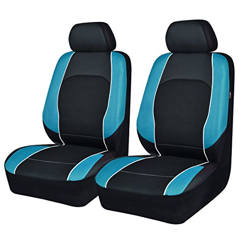 NEW ARRIVAL -Car Seat Covers Black Blue For Men Boy Universal Fit Cars Trucks Suvs VANS Two Front Faux Leather Airbag Compatible (black with waterblue) (Men Seat Covers For Cars)