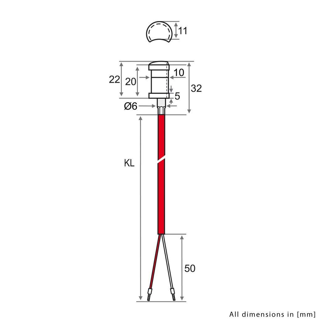 Befestigung bis 200/°C Rohranlegef/ühler KTY81-210 mit 2 Meter Silikon-Leitung inkl KTY iOVEO 004AL07202