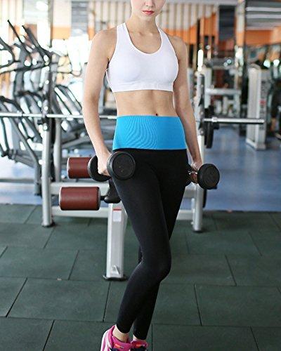 Mujeres Yoga de alta cintura Deportes Fitness Leggings Workout Pants Azul