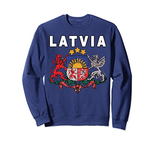 Unisex Latvia National Pride Coat of Arms Sweatshirt 2XL Navy - National Coat Of Arms