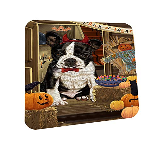 Enter at Own Risk Trick or Treat Halloween Boston Terrier Dog Coasters Set of 4 CST52996