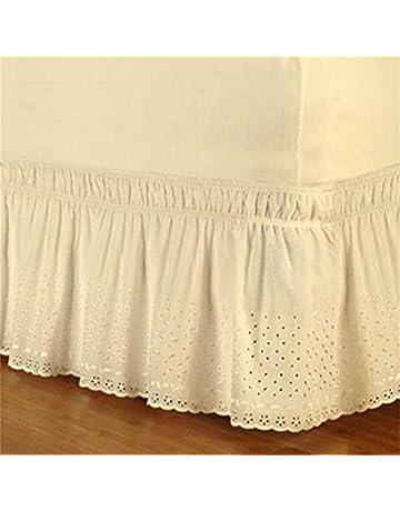 su-luoyu Falda de Cama de algodón Puro diseño de Volantes elástica Falda de Cama