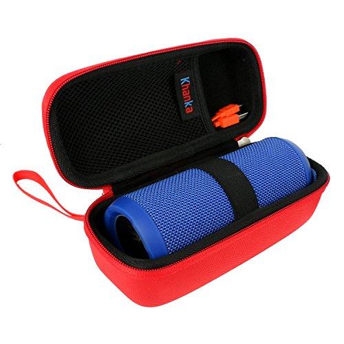- Khanka Hard Case Portable Bag for JBL Flip 3 & Flip 4 Waterproof Splashproof Portable Wireless Bluetooth Speaker - Red