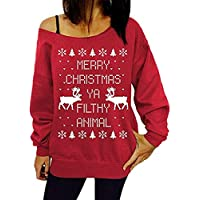 Taiduosheng Women Off Shoulder Ugly Christmas Sweater Girls Print Reindeer Xmas Tops Pullovers Blouse Plus Size M Red