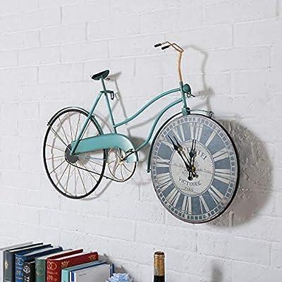 FPigSHS Reloj de pared Retro hierro Arte de pared barra industrial cafetera decoración de pared campana reloj para sala de estar oficina dormitorio grande cocina bicicleta hacer una vieja bicicleta 5 colores: