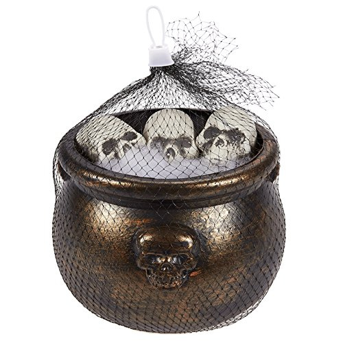 Haunted House Decor (Witches Cauldron with 4 Plastic Skulls - Halloween Decoration - Haunted House Décor, 6.5 Inches in Diameter, Height of 4.7 Inches)
