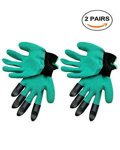 Garden Gloves, Gardening Glove Waterproof With Claw for Digging, Planting 2 Pairs (Claws on Right (Imported Magic Gloves)
