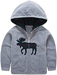Baby Boys Fleece Cartoon Animal Zip Front Jacket Hoodie Sweatshirt