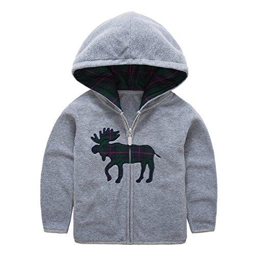 HUAER& Baby Boys' Fleece Cartoon Animal Zip Front Jacket Hoodie Sweatshirt (4-5T(height105-115cm/40.95-44.85inch), Grey) Zip Hoodie Jumper