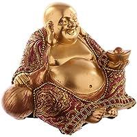 bick.shop Statuetta Buddha in Oro con Stoffa Statua Budda Feng Shui buddhismo Grande Budda