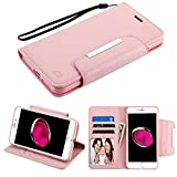 Case+Tempered_Glass, PU Leather Fits Apple iPhone 7 Plus/8 Plus (Also Fits 6 Plus/6S Plus) Rose Gold/Pink Book-Style Wallet Purse Clutch Pouch