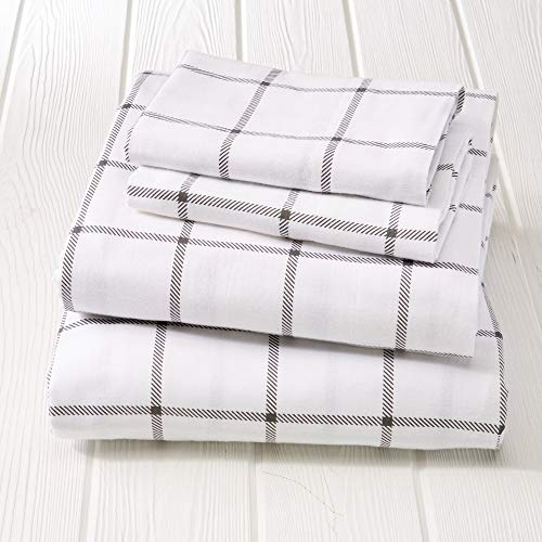 4 Piece Grey Windowpane Plaid Queen Flannel Sheet Set, Gray Check Window Pane Bedding Checkered Theme Bedroom Decor Deep Pocket White Tartan Square Cube Box Gingham Lodge Luxury Soft Cotton Turkish ()