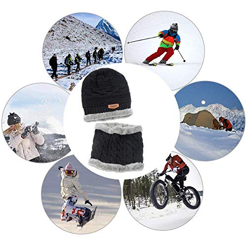Men's 2-Pieces Winter Beanie Hat Scarf Set Warm Knit Hat Thick Fleece Lined Winter Cap Scarves for Men Women 6