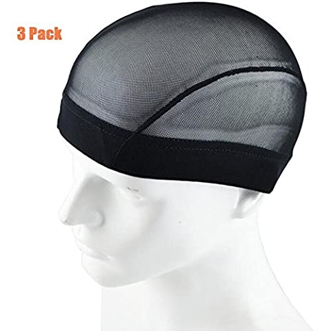 Garrelett 3 Pack Wig Caps - Weaving Stretchable Net Mesh Fishnet Elastic Dome Cap (Black)
