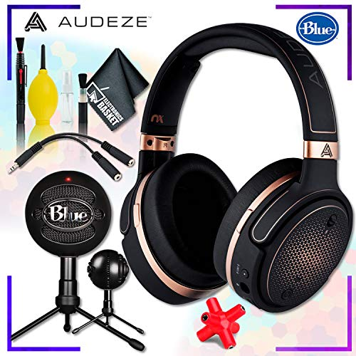 Audeze Mobius Planar Magnetic Gaming Headset (Copper) + Blue Snowball iCE Microphone (Black) + Headphone and Knuckel Signal Splitter + Cleaning Kit Streaming Bundle ()