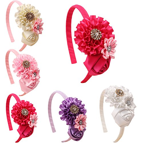 ROEWELL Hair Ribbon Bow Hair Clip Headbands for Baby&Girl (5 Pack)