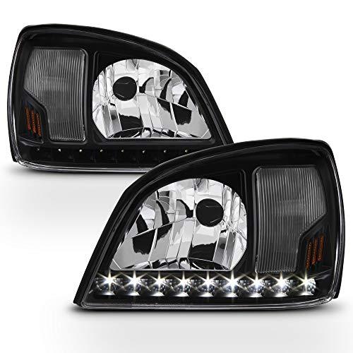 ACANII - For 2000-2005 Cadillac Deville LED Strip Headlights Black Headlamps Head Lights 00-05 Driver & Passenger Side