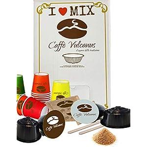 Caffè Vulcanus - 100 capsule Dolce Gusto compatibili - Degustazione miscela Napoli ed Ischia + kit accessori ECO