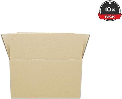 Cajeando | Pack de 10 Cajas de Cartón de Canal Simple | Tamaño 36 x 25,5 x 20 cm | Color Marrón | Mudanzas | Cajas Pequeñas de Almacenaje | Fabricadas en España: Amazon.es: Oficina y papelería