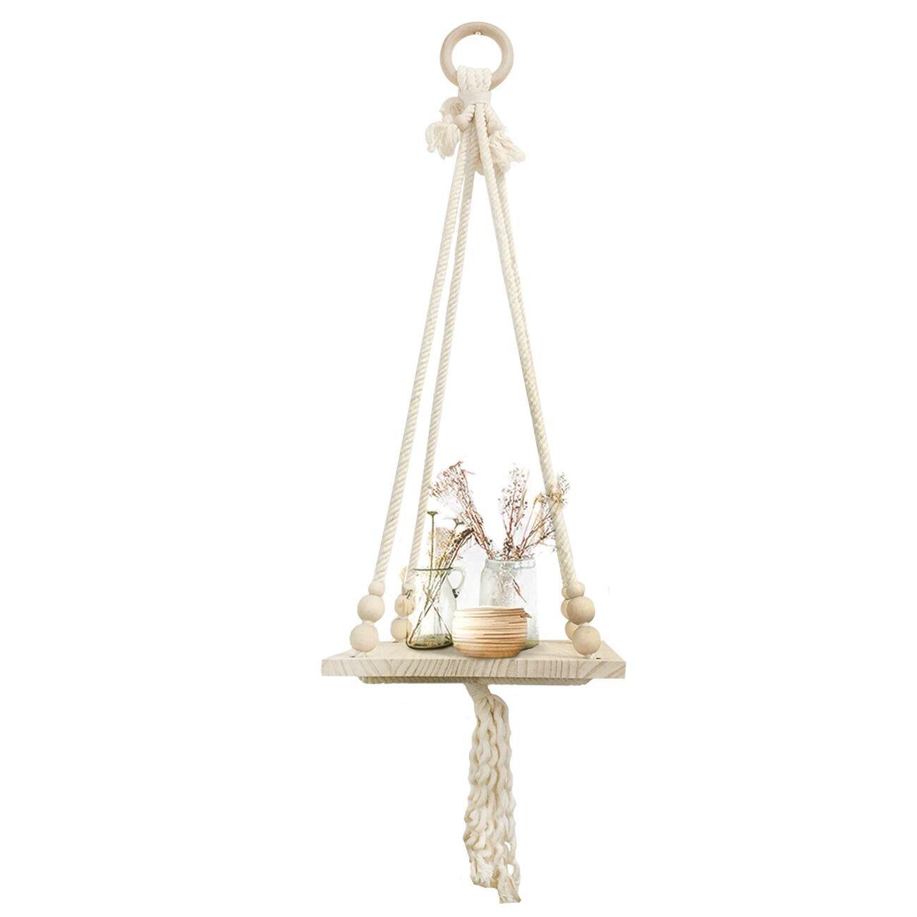 Macrame Shelf Hanging Plant Hanger - Display Wall Hanging Shelf Pot Holder Long Tassel with Bead Boho Decor Garden Home Office Decor Round Wooden Hanging Ring