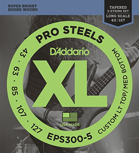 D'Addario EPS300-5 ProSteels 5-String Bass Custom Light, 43-127, Long Scale
