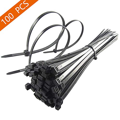 MAVGV Cable Ties 8 Inch, Multi-Purpose Cable Tie (100 Piece), Premium Plastic Wire Ties with 50 Pounds Tensile Strength, Self-Locking Black Nylon tie wraps for Indoor and Outdoor
