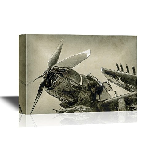 wall26 - Canvas Wall Art - World War Ii Era Navy Fighter Plane with Folded Wings - Gallery Wrap Modern Home Decor | Ready to Hang - 24x36 inches