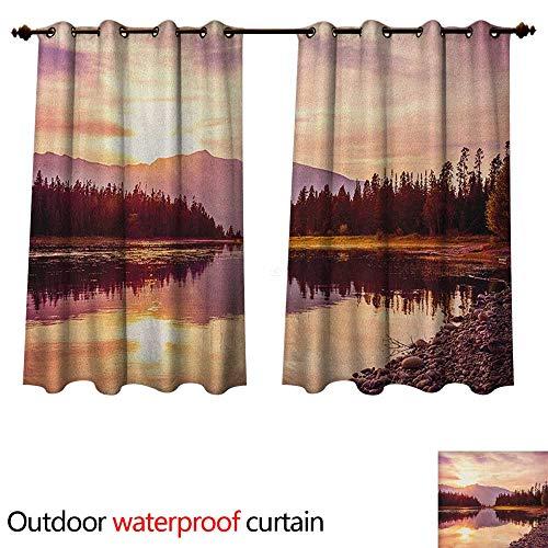 Anshesix Landscape Outdoor Ultraviolet Protective Curtains Grand Teton Mountain Range at Sunset Jackson Lake Calm National Park USA W108 x L72(274cm x 183cm)
