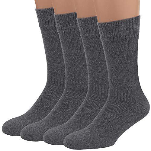Air Wool Socks, 2 packs Merino Wool Organic Cotton Rich Mens Black Dress Socks (Grey L)