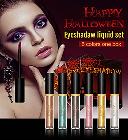Liquid Eyeshadow - Halloween Makeup Ideas - Waterproof Glitter Shimmer Liquid Eyeliner Eyeshadow with 6 Colors Tube Pack By Nice - Lip Colour Loreal Infallible 1 Kit