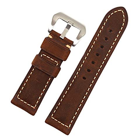EACHE Crazy horse Genuine Leather watchband (24mm, Matte Brown-Silver Buckle) - Genuine Rough