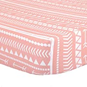 Coral Pink Tribal Print Fitted Crib Sheet - 100% Cotton Abstract Geometric Baby Girl Nursery and Toddler Bedding