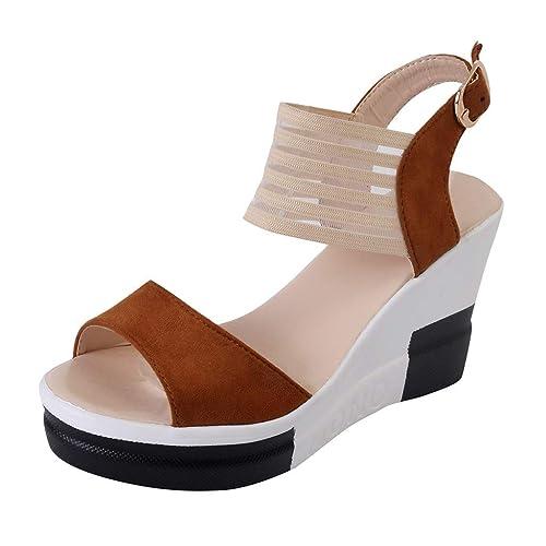 e194aa4245ecc Zapatos de cuña de Las Mujeres Ocasionales Hebilla de cinturón Zapatos de  tacón Alto Sandalias con Boca de Pescado de Moda  Amazon.es  Zapatos y ...