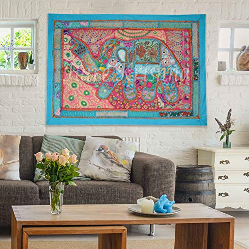 (Home Art Décor Wall Hanging Hand Embroidered Elephant Patchwork Wall Tapestry (Turquoise) 24 x 36 Inches)