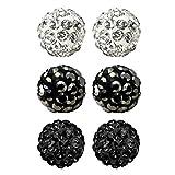 JewelrieShop Rhinestones Crystal Ball Stud Earrings Set Fireball Disco Ball Pave Bead Earrings
