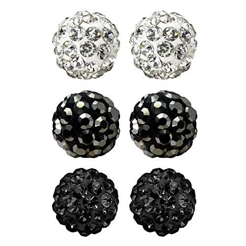 JewelrieShop Rhinestones Crystal Ball Stud Earrings Set Fireball Disco Ball Pave Bead Earrings Hypoallergenic for Teen Girls Women 6mm x 3 Pairs (White, Jet Black, Hematite)