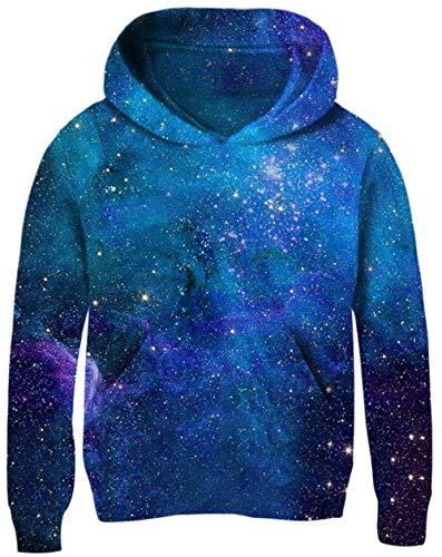 UNICOMIDEA Kids Galaxy Hoodie Comfy Pullover Creative Pattern Sky Sweatshirt Trendy Simple Magical Galaxy with Dancer Clothes for 3-4 Years -