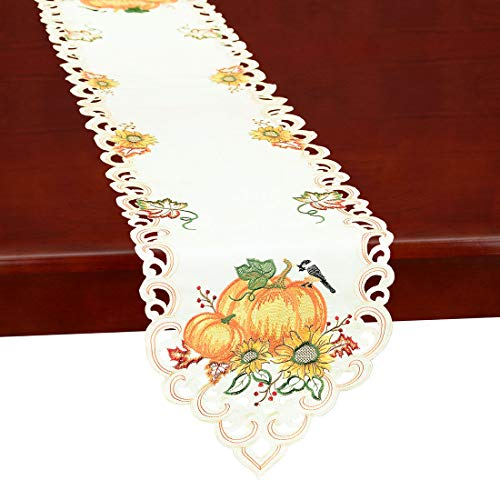 Simhomsen Thanksgiving Holiday Table Runners, Harvest Pumpkins Table Linens 13 × 68 inch (Table Runner Turkey)
