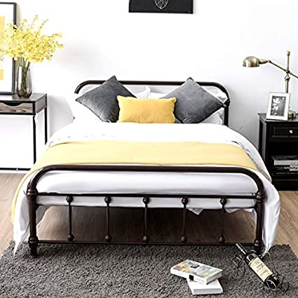 online retailer 2ea0d 2537a Giantex Metal Bed Frame, Full Size Bed Platform with Vintage Headboard and  Footboard, Non Slip Steel Slat Support, Heavy Duty Bed Base for Mattress ...