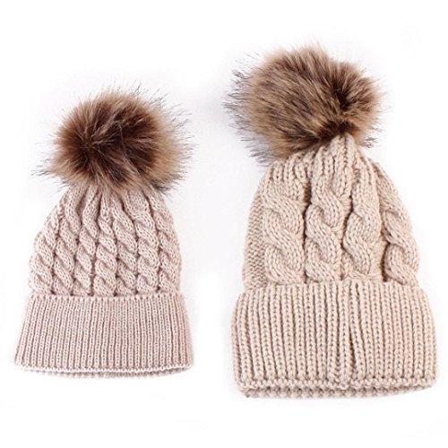 hot-sale-sweety-mom-and-baby-family-matching-knit-pom-pom-hat-winter-crochet-beanie-cap-khaki