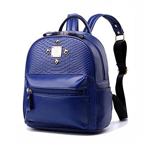 VVeda 2016 New Backpack Rivet Spring and Summer Fashion Casual Korean Women Bag(Dark blue)