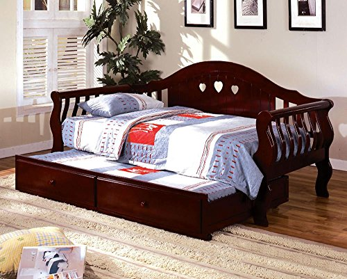 Cherry Trundle Daybed (FA Furnishing Sheraton English Style Wood Twin Daybed w/Trundle - Cherry)