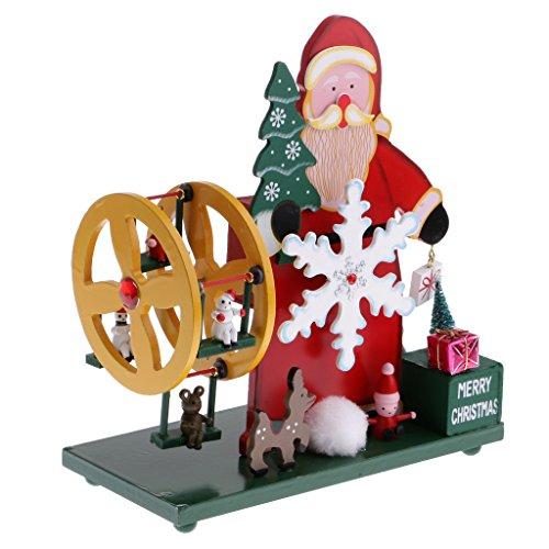Santa Claus Music Box (MagiDeal Christmas Santa Claus Music Box w/ Mini Ferris Wheel Xmas Tree Kids Wind Up Toy Gift Clockwork Ornament Decor)